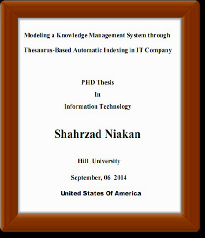 Modeling a Knowledge Management System through Thesaurus-Based Automatic Indexing in an IT Company__PHD Thesis
